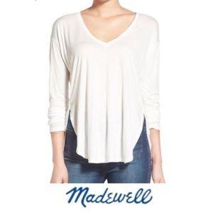 Madewell Anthem White V-Neck Long Sleeve Tee XS